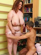 Slutty big tits girl takes cumshot