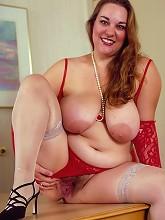 Big Tit Fatty in Red Lingerie...